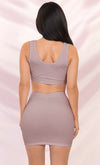 Play It Again Pink Sleeveless Scoop Neck Ribbed Crop Top Bodycon Mini Two Piece Dress - Sold Out