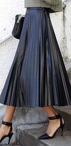 Pleats to Meet You Black Faux Vegan Leather High Waist Box Pleated A Line Circle Bell Flare Midi Skirt ! - Sold Out