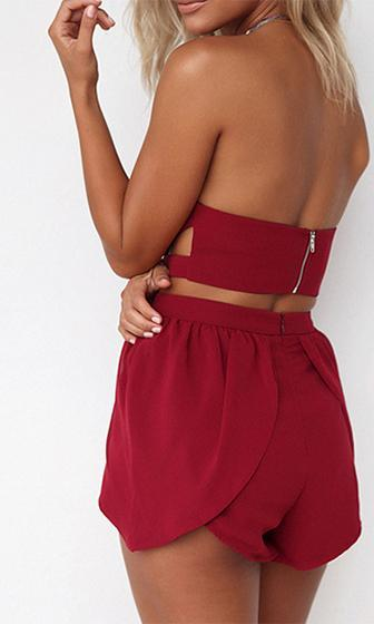 Saturday Lover Red Chiffon Strapless Draped Cut Out Plunge V Neck Crop Top Tulip Shorts Two Piece Romper Playsuit