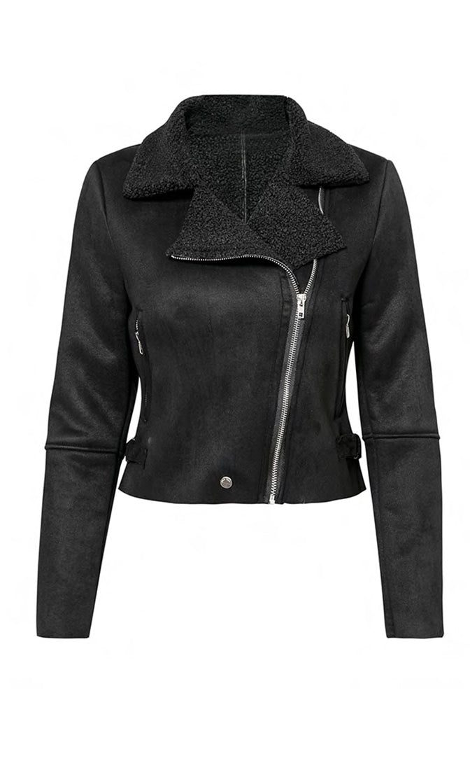 Layer It On Faux Suede Faux Fur Long Sleeve Asymmetric Zip Motorcycle Coat Outerwear - 3 Colors Available