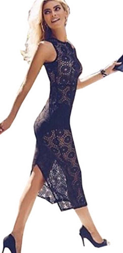 Photo Op Black Sheer Floral Lace Sleeveless Scoop Neck Bodycon Mini Dress - Sold Out