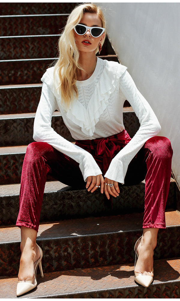 Turn Things Up Velvet Tie Belt High Waist Harem Pants Loose Trousers - 3 Colors Available
