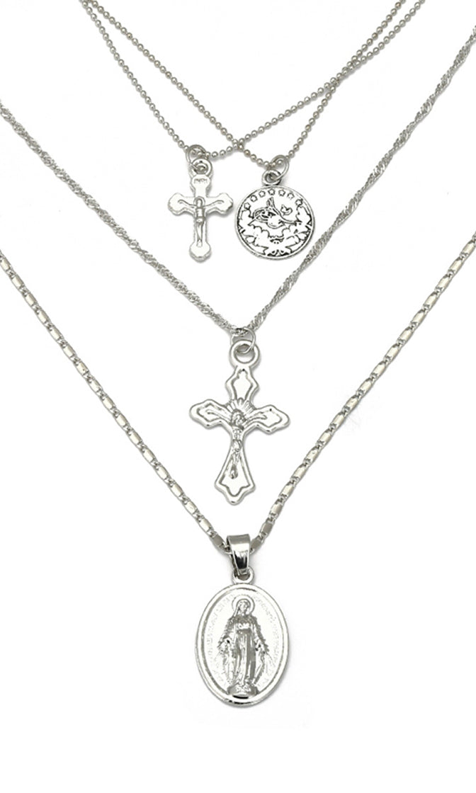 Layer Upon Layer Multi Chain Cross and Pendant Necklace - 2 Colors Available - Sold Out