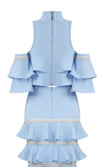 Never Coming Back Light Blue Short Sleeve Cold Shoulder Ruffle Crop Top Two Piece Mini Dress
