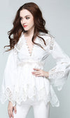 Wicked Wishes Lace Long Flare Sleeve V Neck Asymmetric Tunic Blouse Top - 2 Colors Available - Sold Out