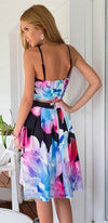 Upper West Side Black Pink Blue Purple White Floral Spaghetti Strap Scoop Neck Crop Pleated A Line Flare Midi Two Piece Dress - Sold Out
