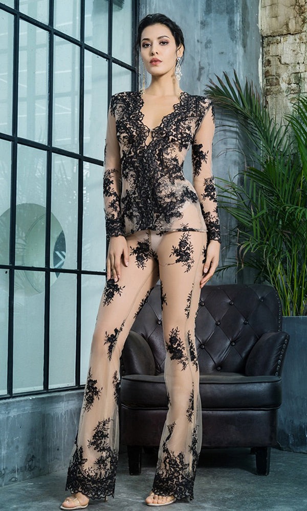 f0419b3d3ca ... Two Piece Jumpsuit.  129.99 USD. Lust In The Moment Black Sheer Mesh  Lace Long Sleeve Plunge V Neck Flare Leg Loose
