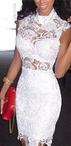 White Floral Lace Sleeveless Fitted Body Con Pencil Mini Dress - As Seen on Lily Ghalichi - Sold Out