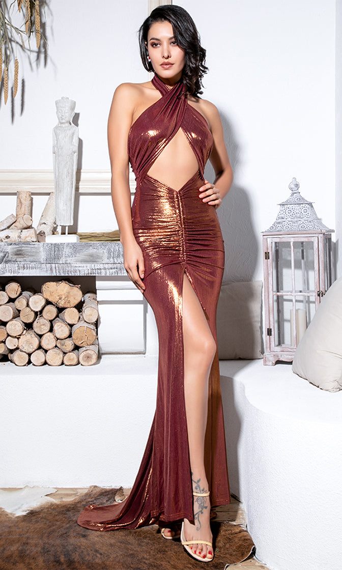 Hold Back The Night Rose Gold Glitter Sleeveless Wrap Backless Halter Cut Out Ruched Slit Maxi Dress