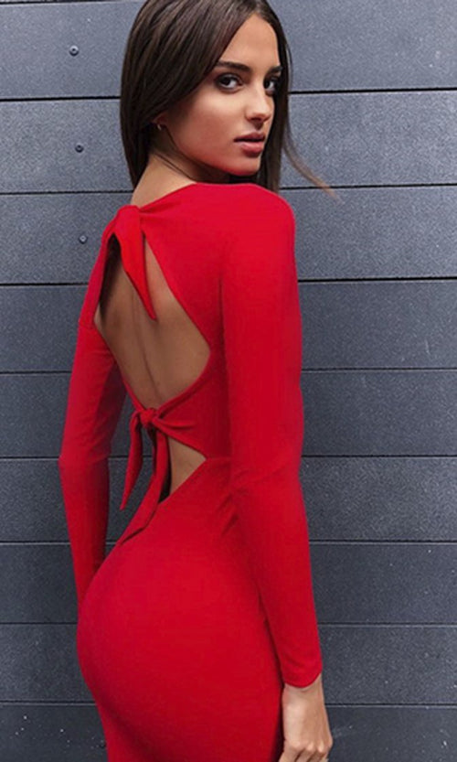My Night Long Sleeve V Neck Cut Out Back Bow Bandage Bodycon Midi Dress - 2 Colors Available
