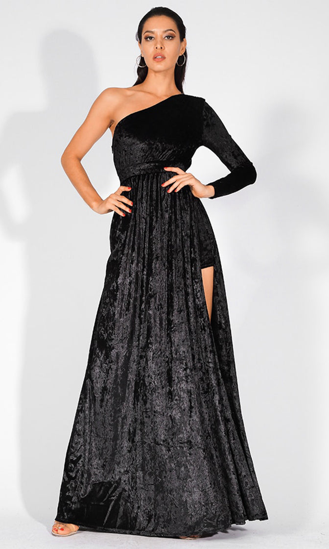 Midnight Drama Black Velvet Long Sleeve One Shoulder Side Slit Maxi Dress Jumpsuit