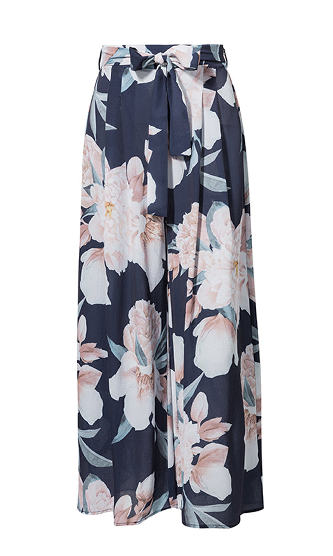 Miss Thing Floral Pattern High Waist Wide Leg Loose Trouser Pants - 2 Colors Available