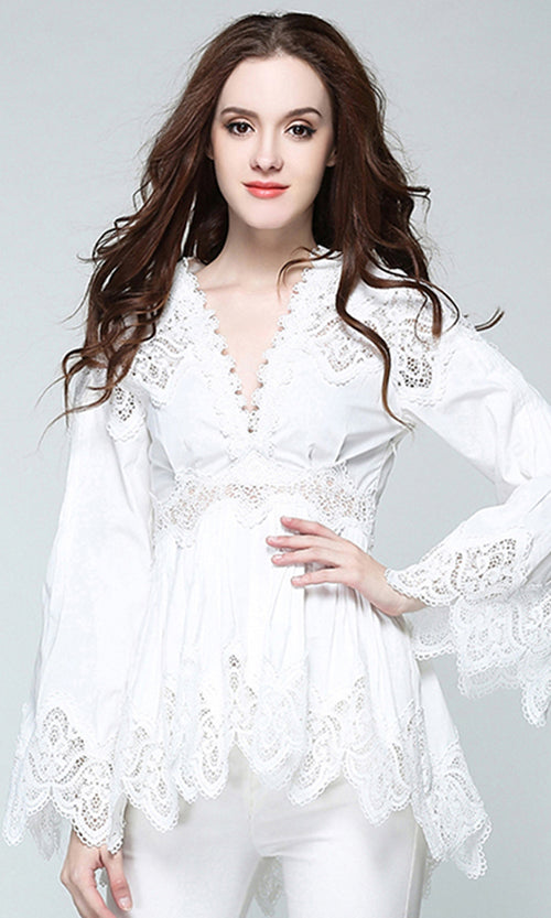 Wicked Wishes Lace Long Flare Sleeve V Neck Asymmetric Tunic Blouse Top - 2 Colors Available