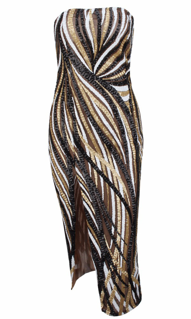 Wild Eyes Black White Gold Sequin Geometric Pattern Strapless Side Slit Midi Dress - Sold Out