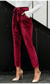 Turn Things Up Velvet Tie Belt High Waist Harem Pants Loose Trousers