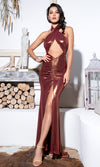 Take One Look Gold Sequin Sleeveless Halter Plunge V Neck High Slit Maxi Dress