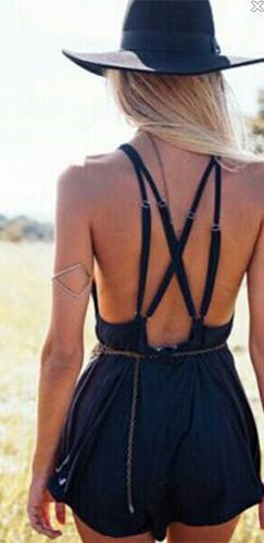 Out West Black Spaghetti Strap Plunge V Neck Cross Back Short Romper - Sold Out