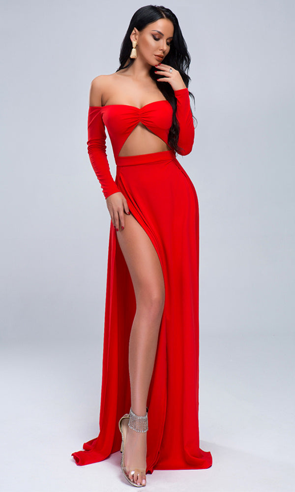 fbb14c36f34 Straight To The Heart Red Long Sleeve Off The Shoulder Sweetheart Neckline  Cut Out Waist Double
