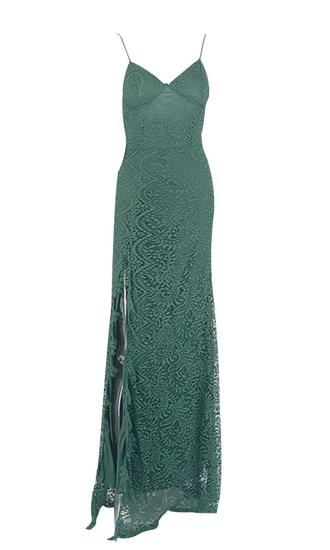 Fancy Pants Green Lace Sleeveless Spaghetti Strap V Neck High Slit Bodycon Maxi Dress - 4 Colors Available
