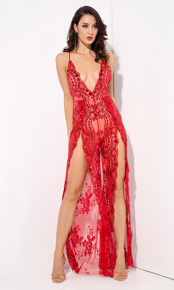 Take A Step Back Red Sequin Floral Pattern Sheer Mesh Sleeveless Spaghetti Strap Plunge V Neck Backless Double Slit Wide Leg Loose Jumpsuit