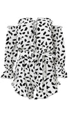 Hidden Treasure White Black Leopard Print Animal Pattern Long Sleeve Off The Shoulder Elastic Waist Ruffle Romper Playsuit