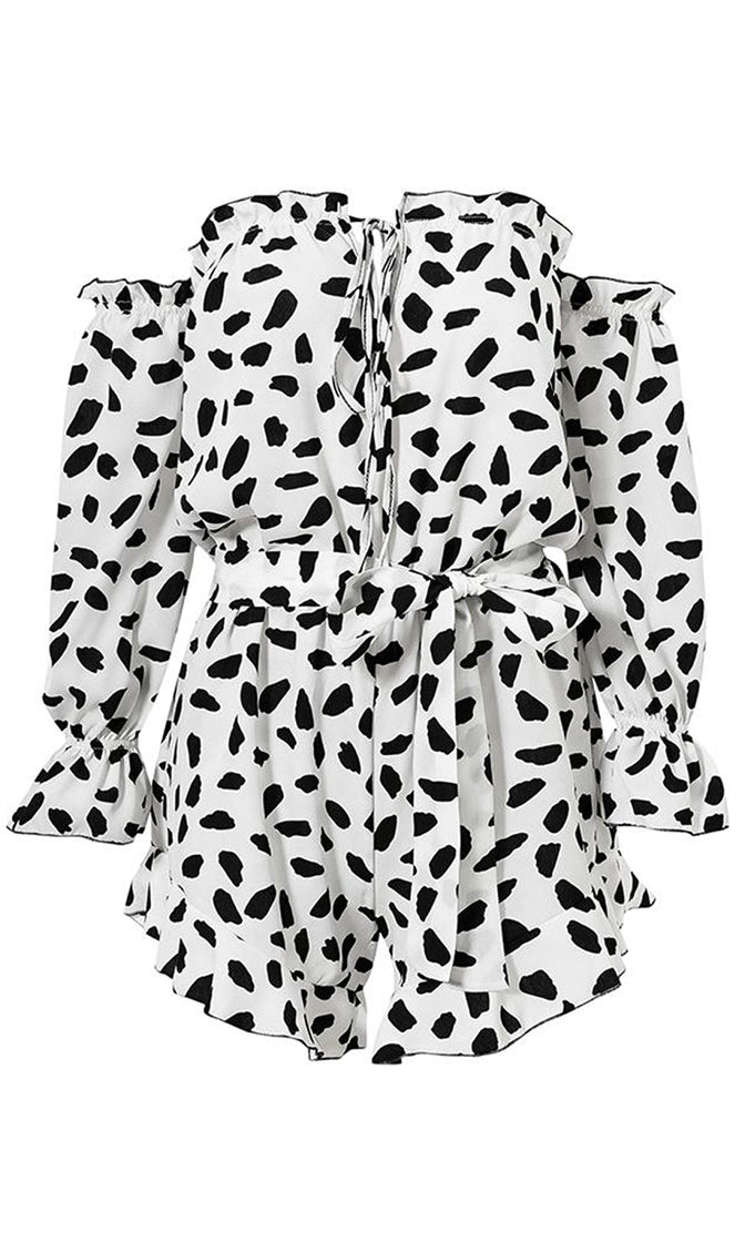 Hidden Treasure White Black Leopard Print Animal Pattern Long Sleeve Off The Shoulder Elastic Waist Ruffle Romper Playsuit - Sold Out