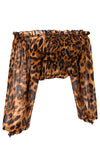 Hotter Than Hot Leopard Print Animal Pattern Long Lantern Sleeve Ruffle Smocked Off The Shoulder Chiffon Cropped Blouse Top