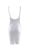 Hot Date White Sleeveless Deep V Neck Low Back Bodycon Bandage Mini Dress