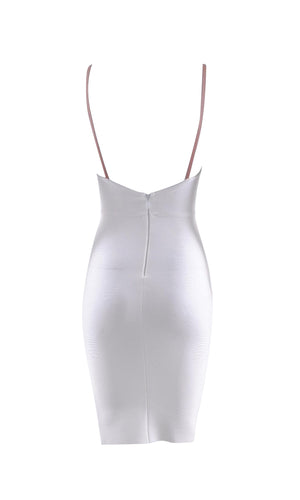 Hot Date White Sleeveless Deep V Neck Low Back Bodycon Bandage Mini Dress - Sold Out
