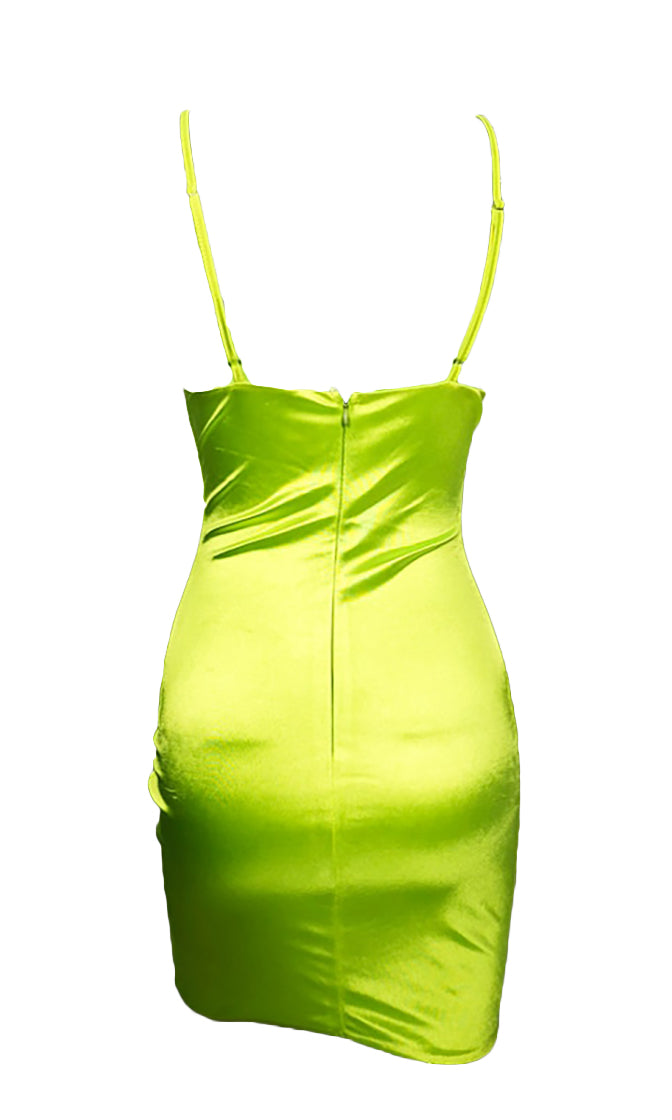 Blast Off Neon Lime Green Satin Stretchy Sleeveless Spaghetti Strap V Neck Cut Out Bodycon Mini Dress