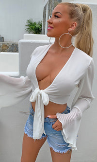 Summer Style White Chiffon Long Flare Sleeve V Neck Tie Front Crop Top