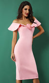 Can't Change Me Short Sleeve Ruffle V Neck Rosette Bodycon Midi Dress - 3 Colors Available