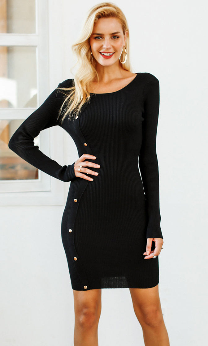 Our First Kiss Long Sleeve Rib Knit Scoop Neck Stud Trim Bodycon Sweater Mini Dress - 3 Colors Available
