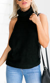 Melrose Stroll Black Sleeveless Turtleneck Halter Backless Pullover Sweater - Sold Out