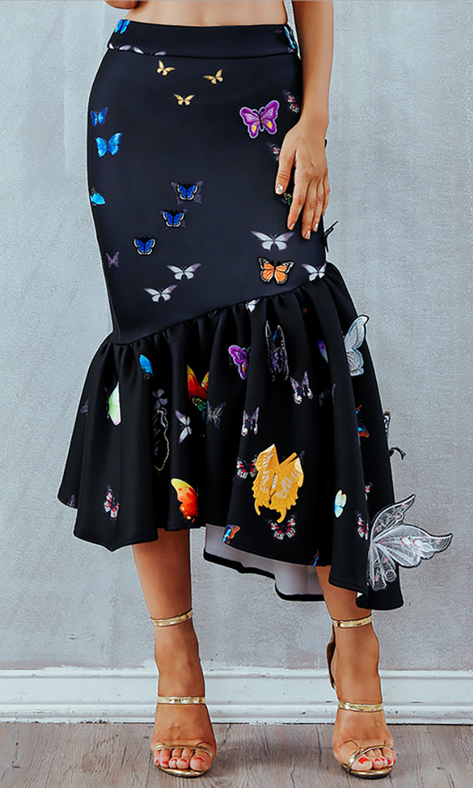 Ciao Bella Butterfly Pattern Ruffle Flare Asymmetric Midi Skirt - 3 Colors Available