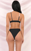 Little Glitz Black Triangle Spaghetti Strap Top Rhinestone Band High Cut Two Piece Bikini Swimsuit - 2 Colors Available