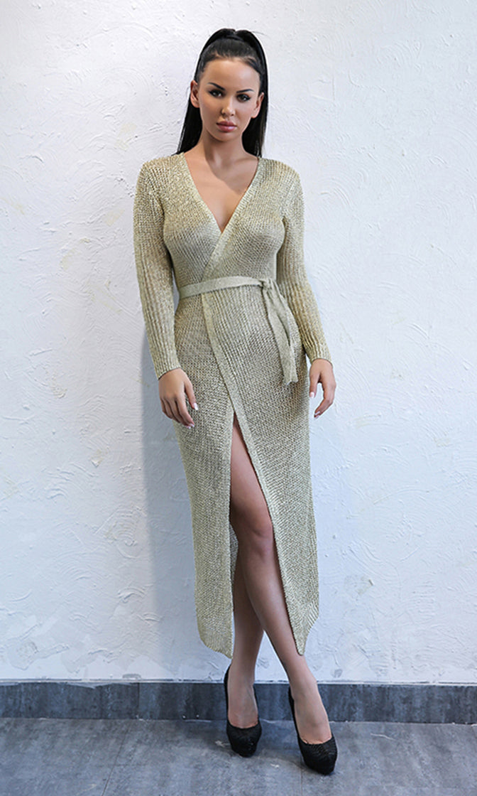 Holding Tight Gold Metallic Wrap Cardigan Long Sleeve Sweater Knit Cross V Neck Wrap Casual Midi Dress