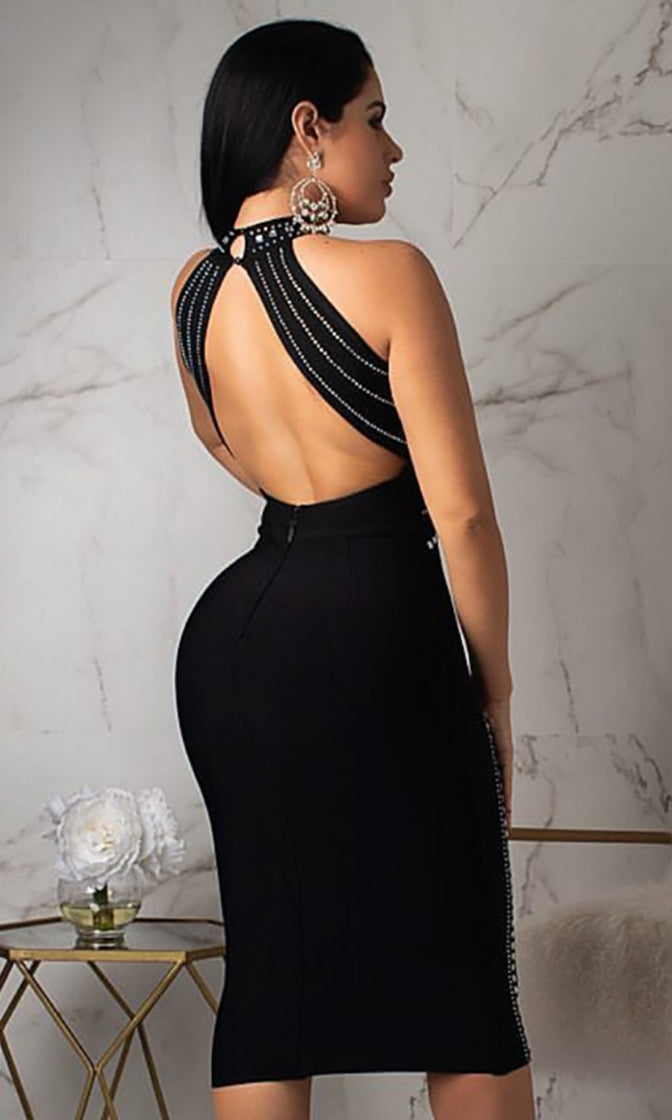 Tough Enough Black Sleeveless Mock Neck Backless Halter Beaded Cut Out Bodycon Bandage Midi Dress