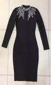 Winter Dream Black Silver Long Sleeve Mock Neck Cut Out Keyhole Bodycon Bandage Maxi Dress - Sold Out