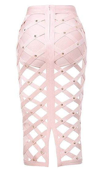 Girl Gone Wild Pink Gold Studded Cage Cut Out Bodycon Bandage Midi Skirt