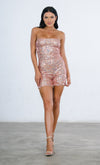 Indie XO Party Time Pink AB Sequin Strapless Bodycon Zipper Back One Piece Romper Playsuit