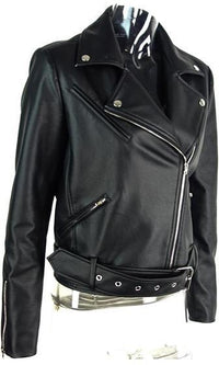 Punk Princess Black PU Faux Leather Long Sleeve Asymmetric Zip Front Moto Jacket - Sold Out