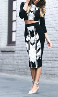 Mulholland Drive Black White Grey Geometric Chevron 3/4 Sleeve Scoop Neck Crop Top Midi Bodycon Pencil Skirt Two Piece Dress - Sold out