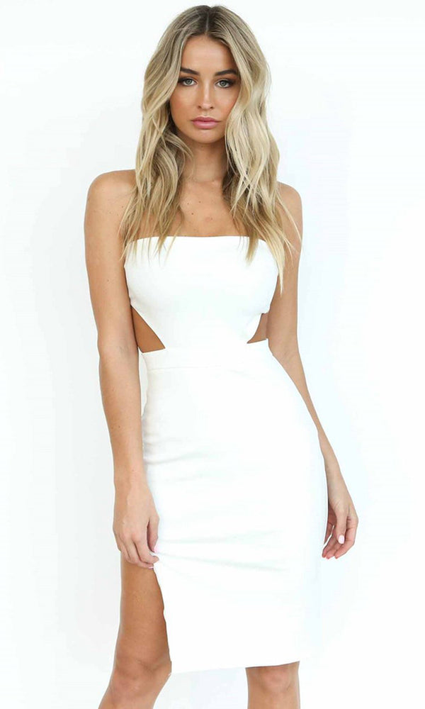Double Vision White Strapless Cut Out Side Thigh Strap Bodycon Midi Dress