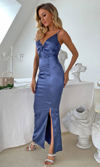 Save Your Tears Blue Sleeveless Spaghetti Strap V Neck Twist Knot Side Slit Bodycon Maxi Dress