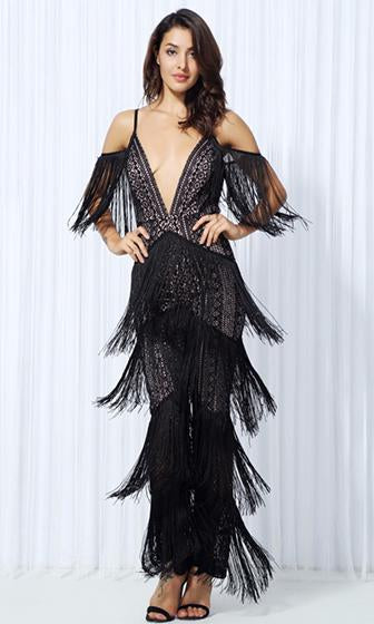 Swing Shift Black Lace Fringe Sleeveless Spaghetti Strap Plunge V Neck Jumpsuit
