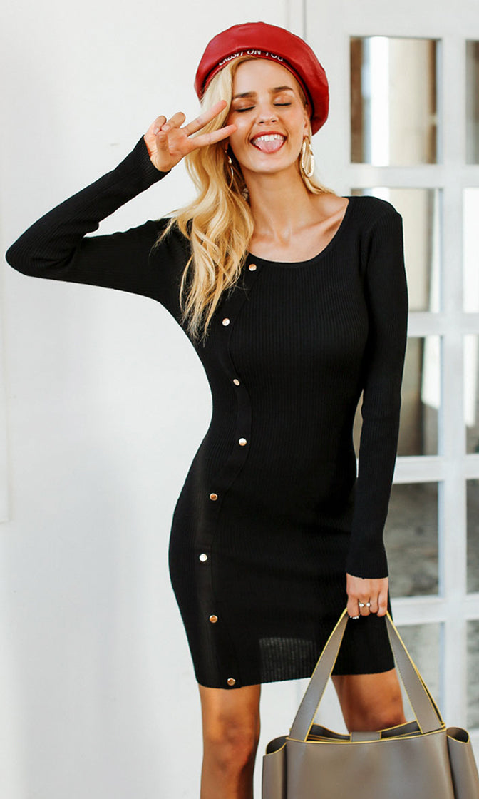 Our First Kiss Long Sleeve Rib Knit Scoop Neck Stud Trim Bodycon Sweater Mini Dress