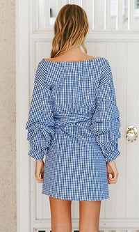 Weekend Wanderer Blue White Gingham Stripe Long Sleeve Ruffle Cross Wrap V Neck Bow Mini Dress - Sold Out