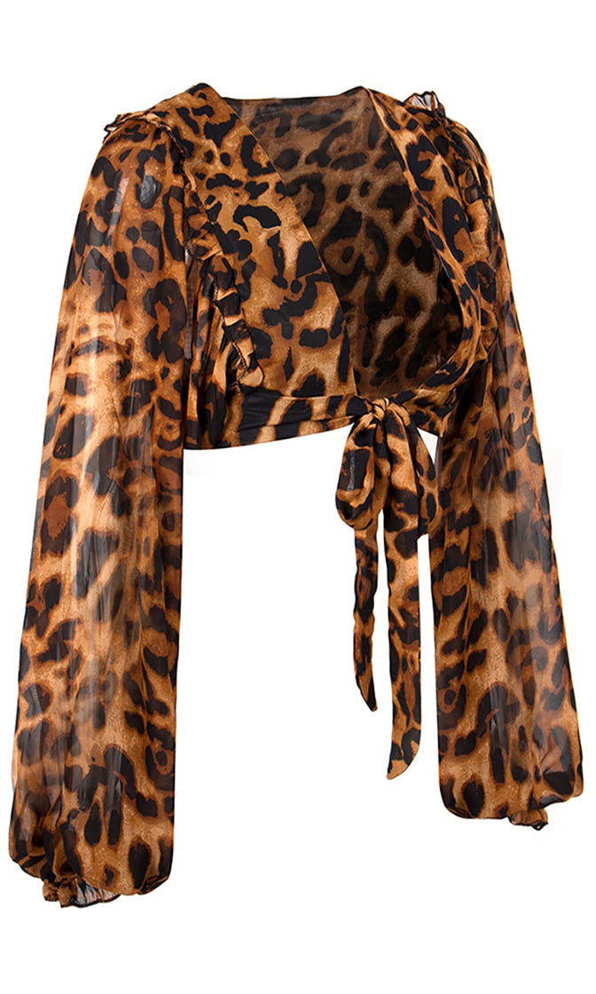 Cat Walk Leopard Print Animal Pattern Long Lantern Sleeve V Neck Tie Front Crop Top Blouse