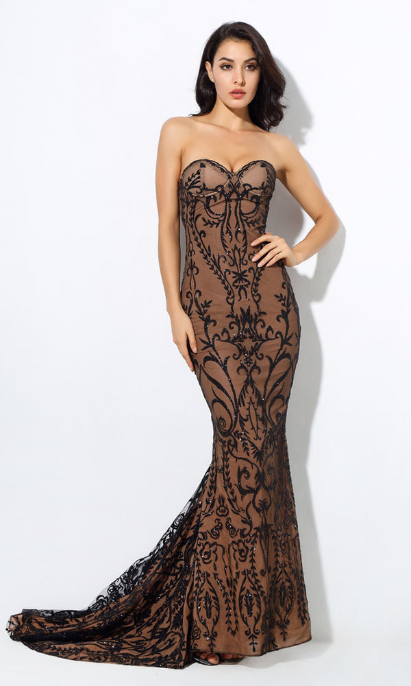 8572b6f81f Baroque Bombshell Black Nude Sheer Mesh Beaded Geometric Floral Pattern  Strapless Sweetheart Neck Fishtail Mermaid Maxi